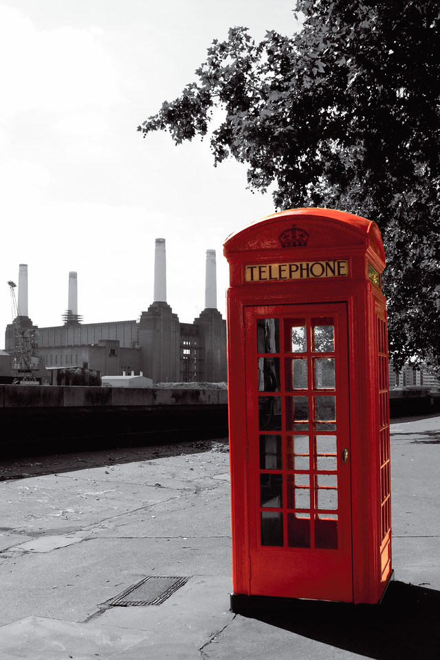 Red telephone box & Battersea Power Station