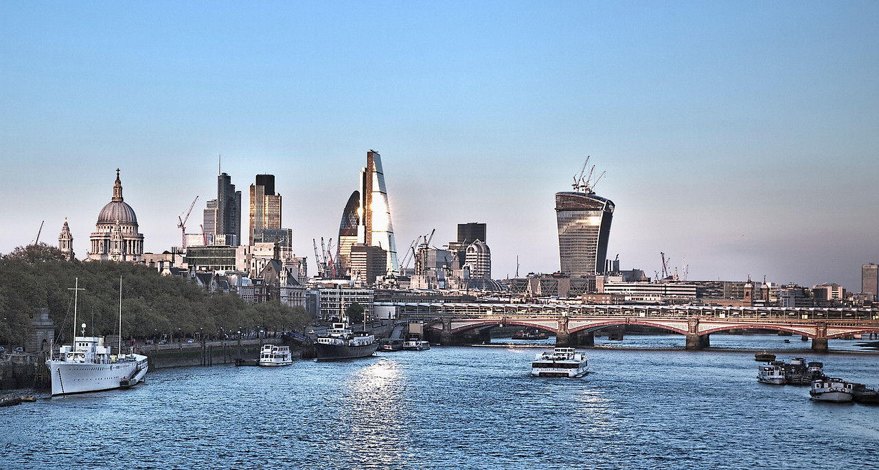 Sunset on the City of London - a view from Waterloo Bridge
