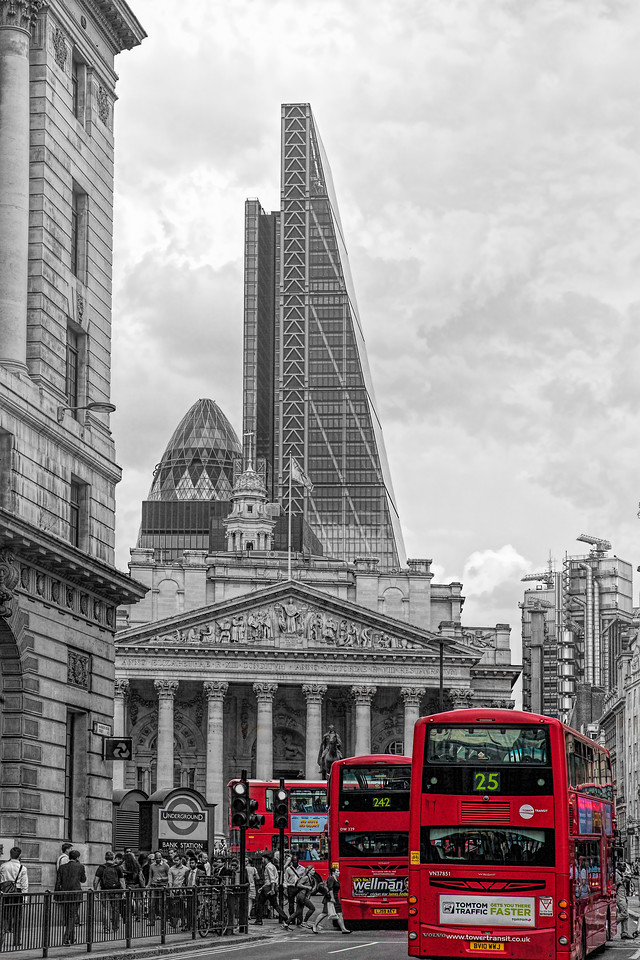 Red London Buses in the City of London