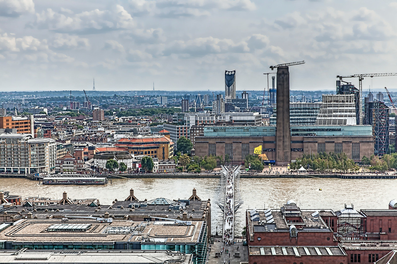 Tate Modern Museum and Millenium Bridge from St Paul's Cathedral