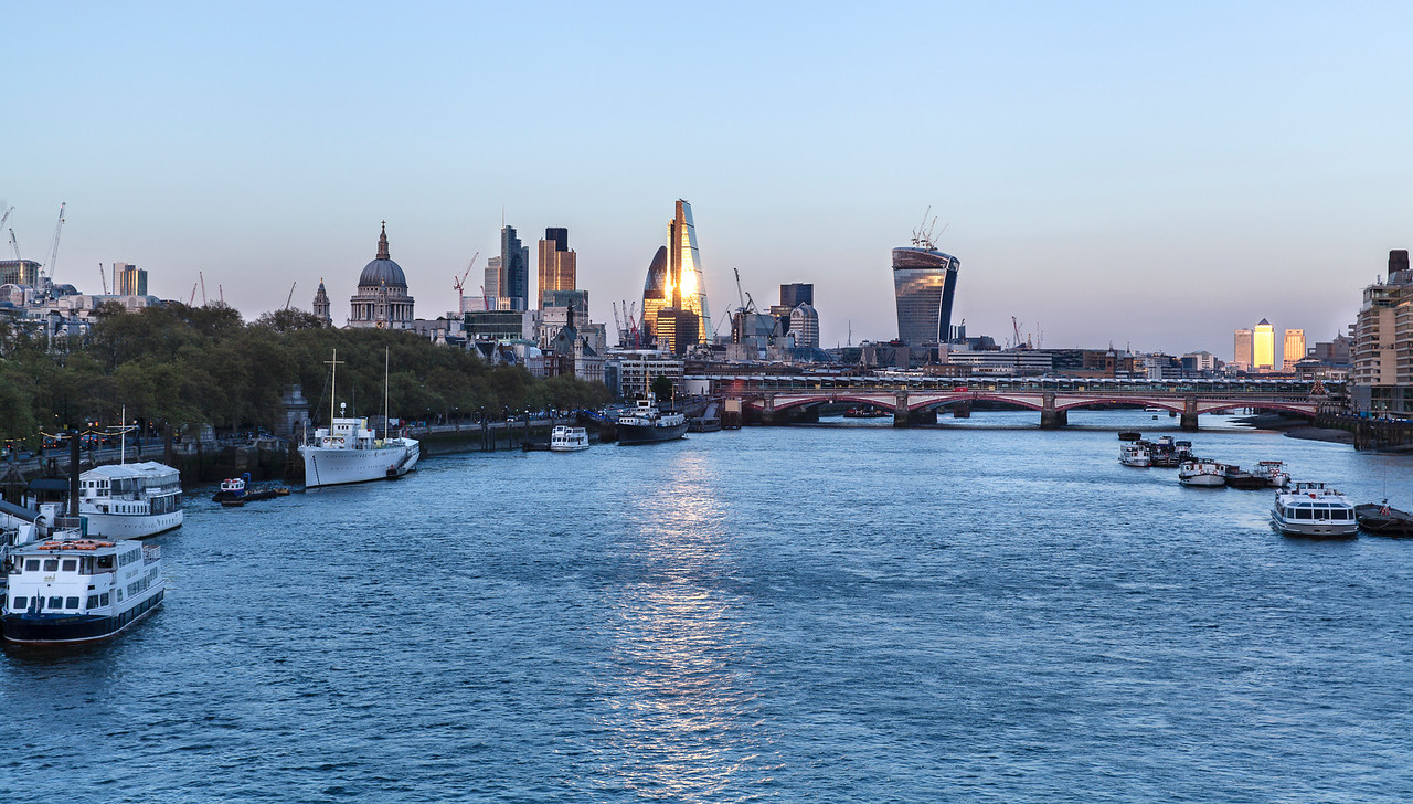 Waterloo Sunset - night view of the City of London from Waterloo Bridge in London