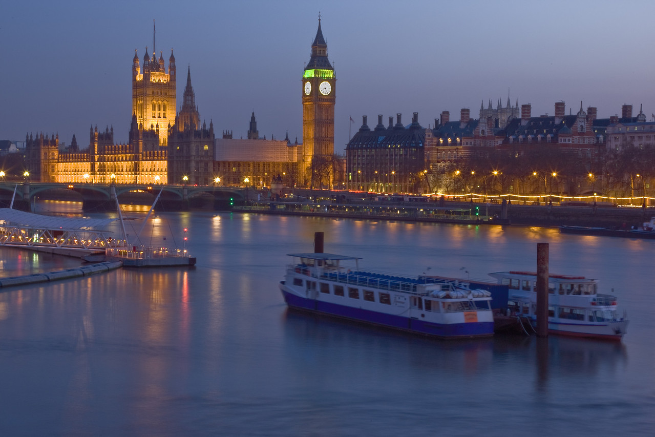 Houses of Parliament At Night from Waterloo Bridge