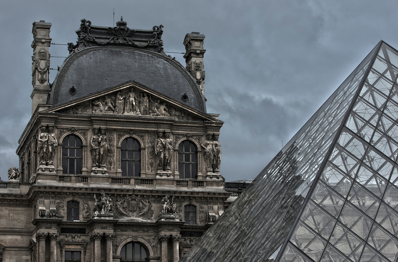 Glass Pyramid in front of the Louvre Museum in Paris, France