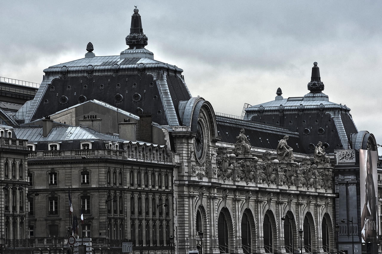 Close up of the Musée d' Orsai building in Paris, France.