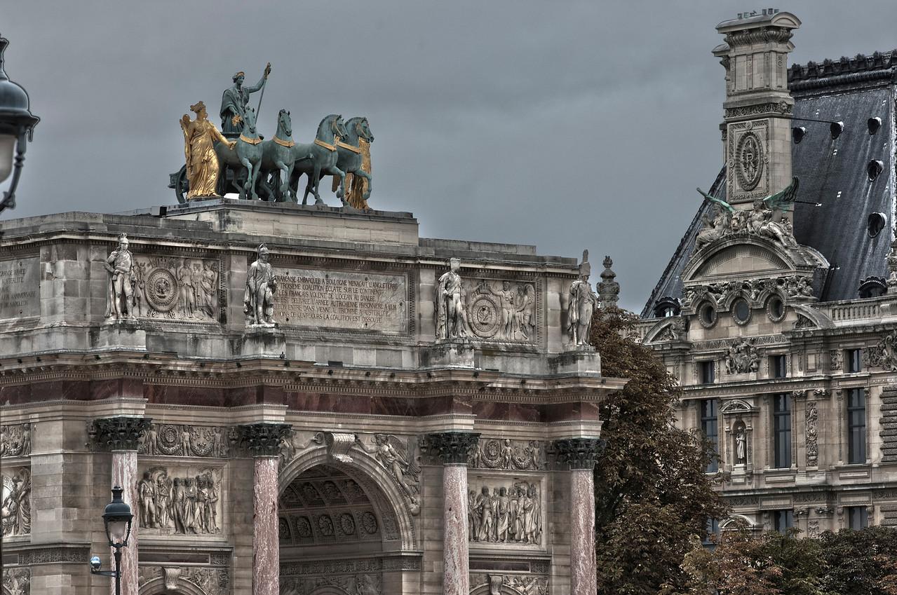 Top of the Arc de Triomphe du Carousel monument next to the Louvre Museum