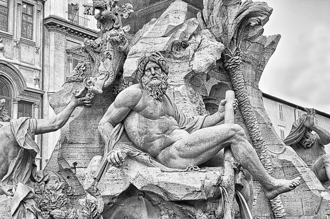 Bernini Fountain in the Piazza Navona in Rome in Italy