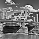 Vauxhall Bridge in London, England with the MI5 Building